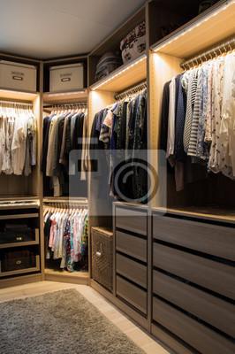 luxuri ser begehbarer kleiderschrank mit beleuchtung und schmuckdisplay fototapete. Black Bedroom Furniture Sets. Home Design Ideas