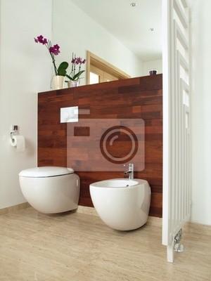 Luxurioses Badezimmer Mit Exotischen Holzwand Fototapete