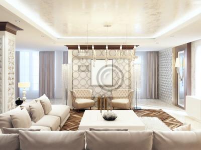 Luxuriöses großes wohnzimmer stil art deco. fototapete • fototapeten ...