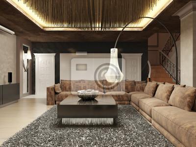 Luxuriöses modernes wohnzimmer im art deco stil. fototapete ...