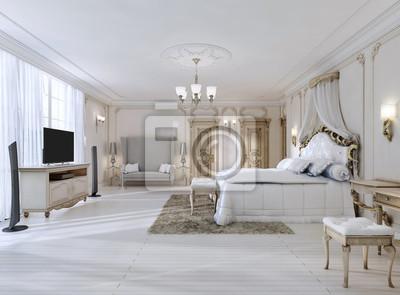 Fesselnd Fototapete Luxuriöses Schlafzimmer In Weißen Farben Im Klassischen Stil.