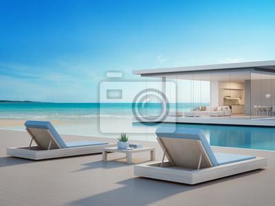 Fototapete Luxuriöses Strandhaus Mit Meerblick Swimmingpool Und Terrasse In  Modernem Design, Liegestühle Auf Holzboden Deck