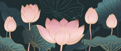 Fototapete Luxurious background design with golden lotus. Lotus flowers line arts design for wallpaper, natural wall arts, banner, prints, invitation and packaging design. vector illustration.