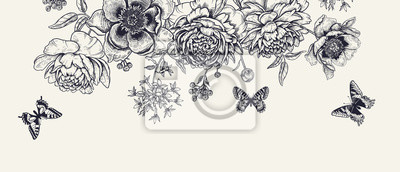 Fototapete Luxurious decoration. Garland of luxurious blooming peonies, butterflies and birds.