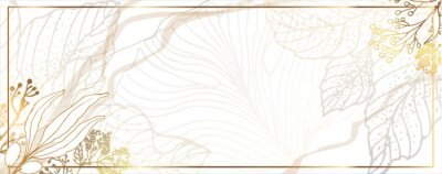 Fototapete Luxurious golden wallpaper. Banner with flowers. White background. Watercolor stains. Gold leaves wall art with shiny light texture. Modern art mural wallpaper. Vector illustration.