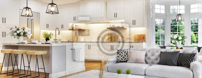 Fototapete Luxurious interior design of white kitchen, dining room with windows and living room in one space