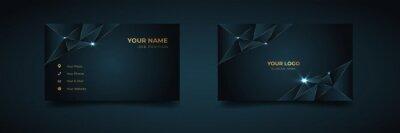 Fototapete Luxury and elegant dark black navy business card design with gold style minimalist print template