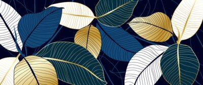 Fototapete luxury gold and blue India rubber plant line art background vector. Flower boho style for textiles, wall art, fabric, wedding invitation, cover design Vector illustration.