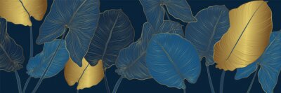 Fototapete Luxury gold and nature blue background vector. Floral pattern, Golden split-leaf Philodendron plant with monstera plant line arts, Vector illustration.