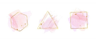 Fototapete Luxury Gold invite frame design vector. Invitation design for wedding, VIP Invitation card, Image frame, wall art decoration. Water color frame design. vector illustration.
