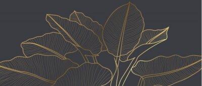 Fototapete Luxury golden art deco wallpaper. Floral pattern with golden split-leaf Philodendron plant with monstera plant line art on green emerald color background. Vector illustration.