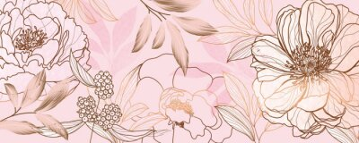 Fototapete Luxury golden pink tropical and summer flower background wall art vector design home decorate