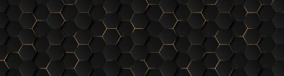Fototapete Luxury hexagonal abstract black metal background with golden light lines. Dark 3d geometric texture illustration. Bright grid pattern. Pure black horizontal banner wallpaper. Carbon elegant wedding BG