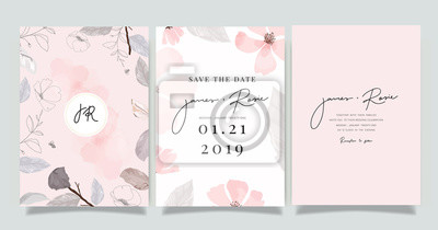 Fototapete  Luxury marble Wedding logo and Invitation set,  invite thank you, rsvp modern card Design in pink and gray flower with leaf greenery branches  decorative Vector elegant rustic template
