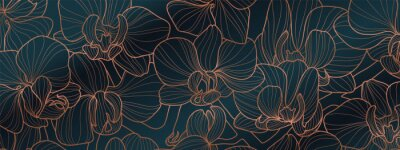 Fototapete Luxury Orchid wallpaper design vector. Tropical pattern design,Blossom floral,  Blooming realistic isolated flowers. Hand drawn. Vector illustration.