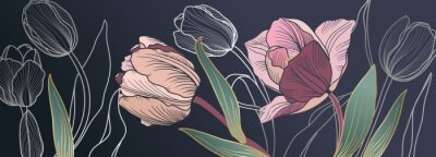 Fototapete Luxury pink tulips background vector with golden metallic decorate wall art
