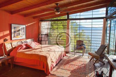 Luxury rot schlafzimmer mit meerblick fototapete • fototapeten lama ...