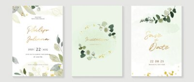 Fototapete Luxury wedding invitation card background  with golden line art flower and botanical leaves, Organic shapes, Watercolor. Abstract art background vector design for wedding and vip cover template.