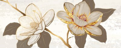 Fototapete Luxury white magnolia foil metallic background vector with golden metallic home decorate wall art