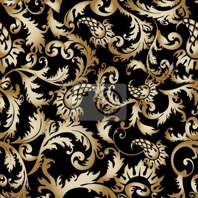 Luxus Barock Damast Floral Vector Nahtlose Muster Tapeten