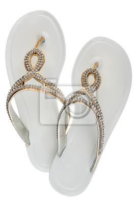 pretty nice a22d2 52e47 Fototapete: Luxus, dekoriert mit strass weißen strand flip-flops, isoliert