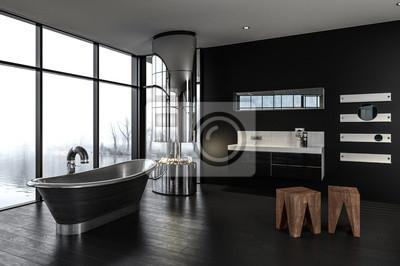 Luxus designer badezimmer mit brennenden feuer fototapete ...