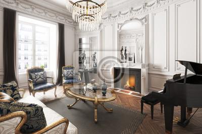 Fototapete Luxus Gehobene Elegante Interieur Wohnung Mit Klavier, Kamin Und  Kronleuchter. 3d Darstellung