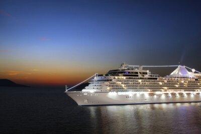 Fototapete Luxus-Kreuzfahrtschiff in den Hafen am Sonnenaufgang