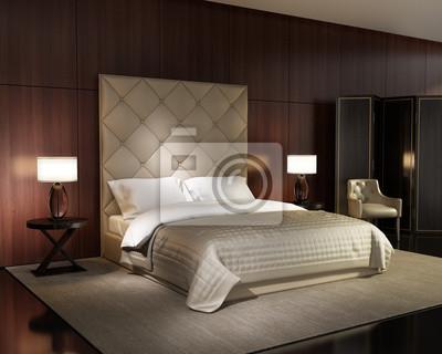 Luxus minimal weißen schlafzimmer mit vintage holzfußboden ...