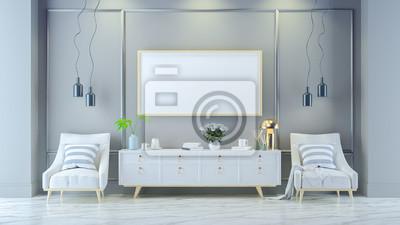 Luxus Modernen Wohnzimmer Interieur Weißer Lounge Sessel Mit