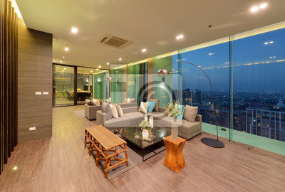 Luxus modernes wohnzimmer interieur und dekoration in der nacht ...