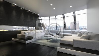 Luxus penthouse lounge raum mit aussicht auf stadt fototapete ...