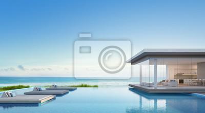 Fototapete Luxus Strandhaus Mit Meerblick Schwimmbad In Modernem Design,  Ferienhaus Für Große Familie