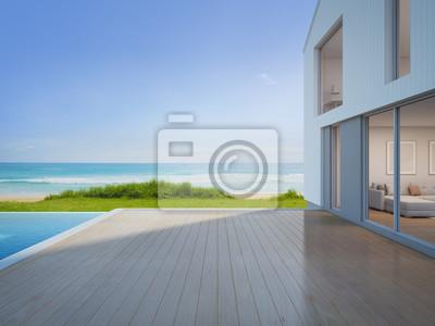 Fototapete Luxus Strandhaus Mit Meerblick Schwimmbad Und Leere Terrasse In  Modernem Design, Ferienhaus Für