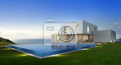 Fototapete Luxus Strandhaus Mit Meerblick Schwimmbad Und Terrasse In  Modernem Design, Ferienhaus Für Große