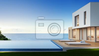 Wunderbar Fototapete Luxus Strandhaus Mit Meerblick Schwimmbad Und Terrasse In  Modernem Design, Ferienhaus Für Große
