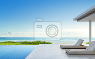 GroBartig Fototapete Luxus Strandhaus Mit Meerblick Schwimmbad Und Terrasse In  Modernem Design, Liegestühle Auf Holzdeck Im