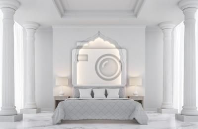 Luxus weißes schlafzimmer 3d rendering image.there sind mit bögen ...
