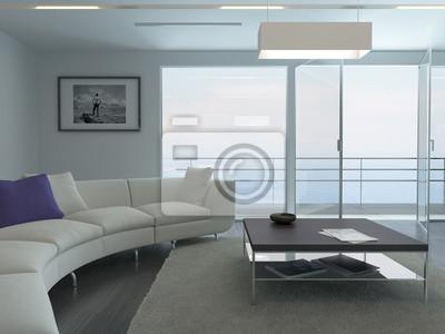Fototapete Luxus Wohnzimmer Interieur Mit Weißen Couch Und Meerblickansicht