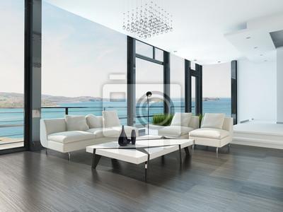 Fototapete Luxus Wohnzimmer Interieur Mit Weissen Couch Und Meerblickansicht