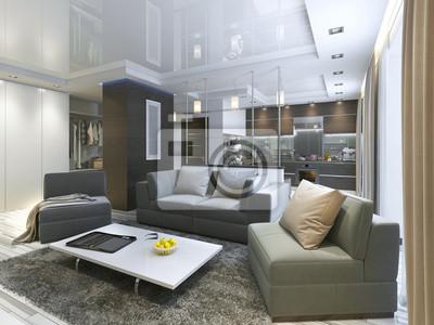 Fototapete Luxus Wohnzimmer Studio In Einem Modernen Stil.