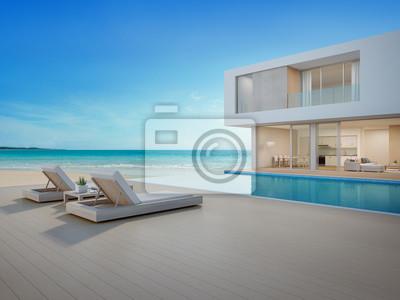 Uberlegen Fototapete Luxusstrandhaus Mit Meerblickschwimmbecken Und  Terrasse Im  Modernen Design, Klubsessel Auf Bretterbodenplattform An Ferienhaus