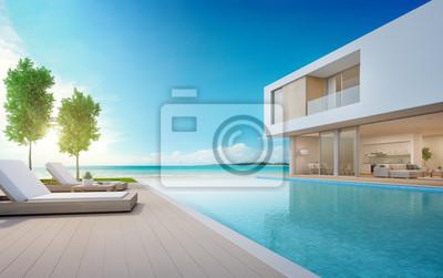 Fesselnd Fototapete Luxusstrandhaus Mit Meerblickschwimmbecken Und  Terrasse Im  Modernen Design, Klubsessel Auf Bretterbodenplattform An Ferienhaus