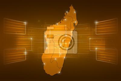 Madagascar map world map news communication orange yellow fototapete ...