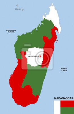 Madagaskar Karte.Fototapete Madagaskar Karte