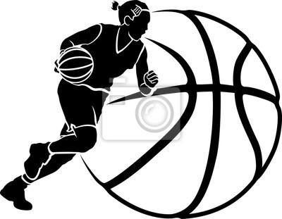 Mädchen-Basketball Dribble Sihouette mit Stilisiert Kugel