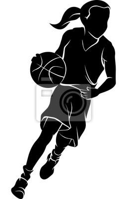 Mädchen, das ein Basketball-Schattenbild tröpfelt