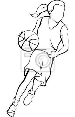 Mädchen, das einen Basketball-Entwurf tröpfelt
