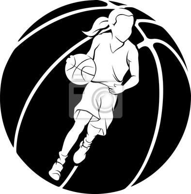 Mädchen, das einen Basketball tröpfelt