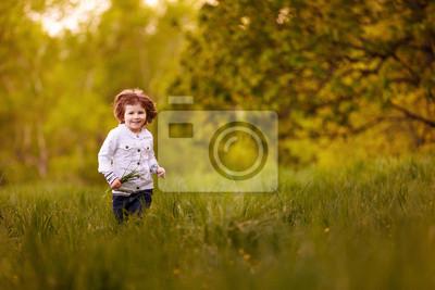f902cd9ae179f2 Mädchen läuft über die wiese fototapete • fototapeten joyfulness ...